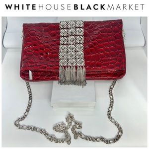 White House Black Market Red Croc Folded ClutchNWT